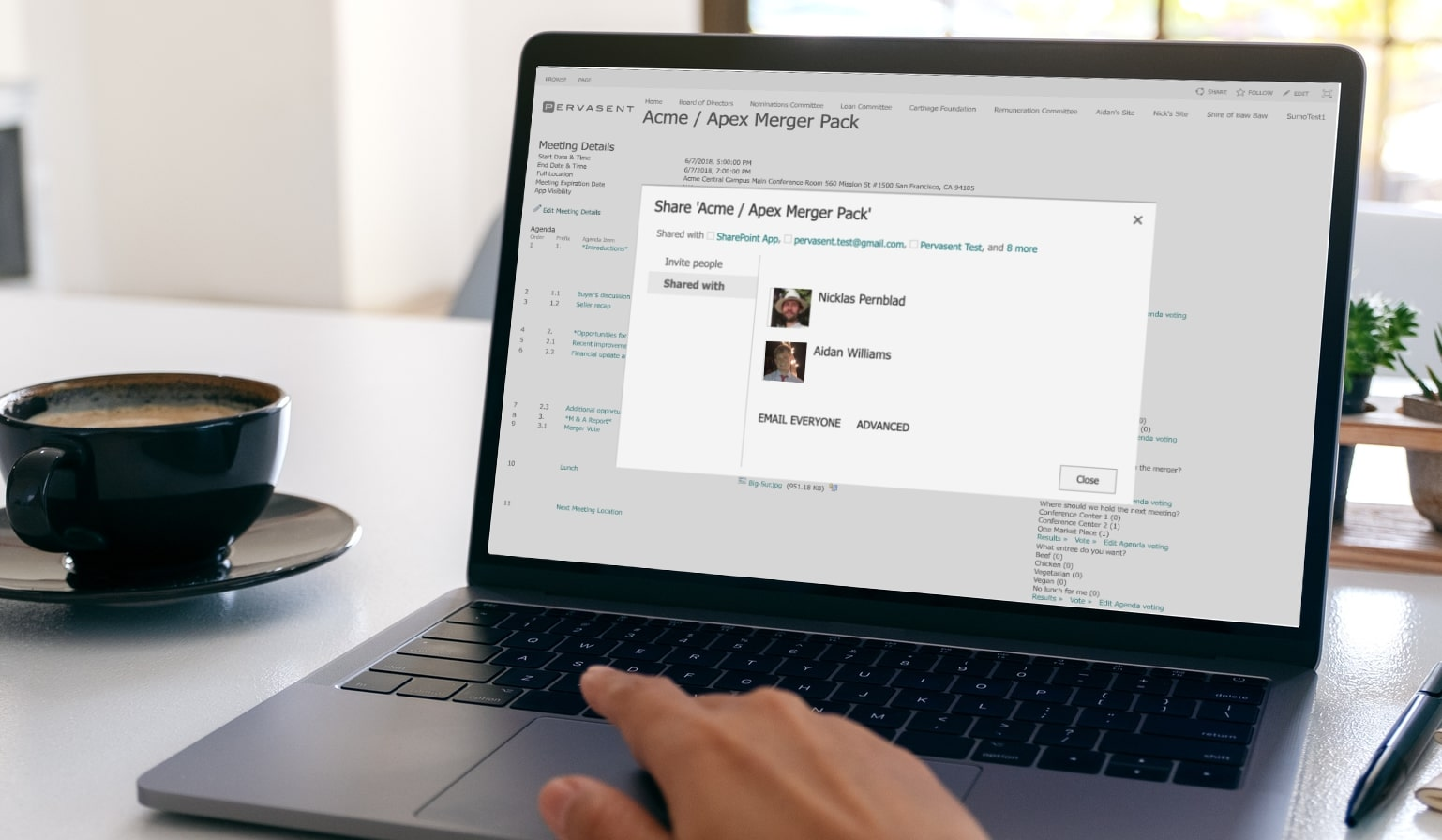 Easily share documents with specific team members or the whole group